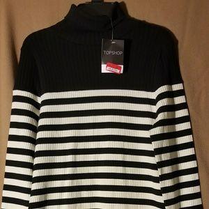 TopShop Turtle Neck L/S Striped Short Dress 8 NWT